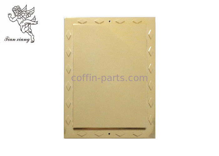 Golden Funeral Adult Casket Accessories Rectangle Nameplate PP Materials